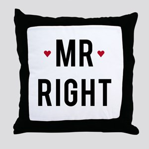 Mr right text design with red hearts Throw Pillow